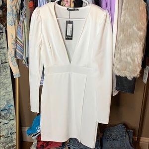 New White long sleeve slit dress